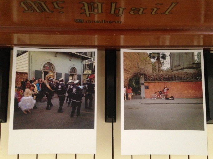 In one day, we saw six different weddings! On the left is a photo of a wedding we saw just as it finished and took to the streets with a band leading the way!